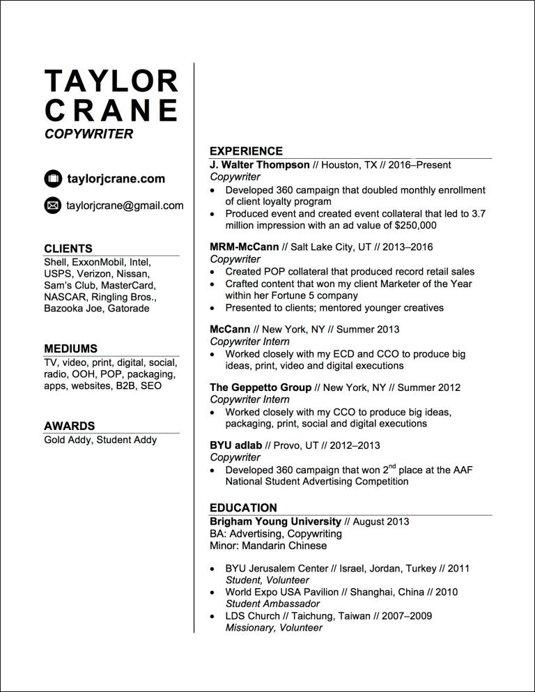 Résumé – Taylor Crane // Copywriter